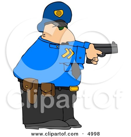 Alert Policeman Pointing His Pistol At A Criminal Clipart