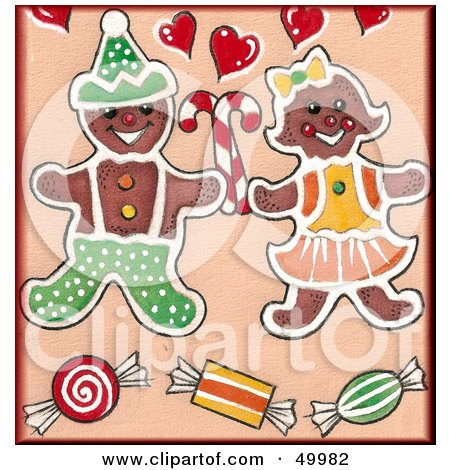 Royalty-Free (RF) Clipart Illustration of a Gingerbread Cookie Couple With Candy by LoopyLand