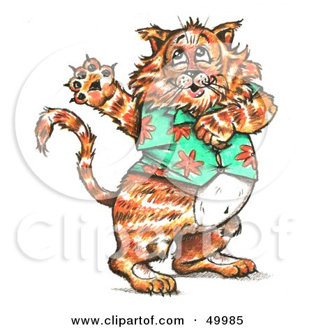 Royalty-free clipart picture of a fat cat dancing and wearing a hawaiian