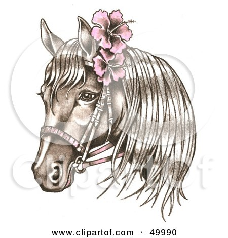 Royalty-Free (RF) Clipart Illustration of a Bridled Horse Wearing Pink Hibiscus Flowers In Its Mane by LoopyLand