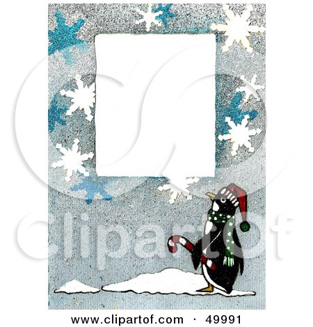 Royalty-Free (RF) Clipart Illustration of a White Text Box Bordered With Snowflakes And A Penguin by LoopyLand