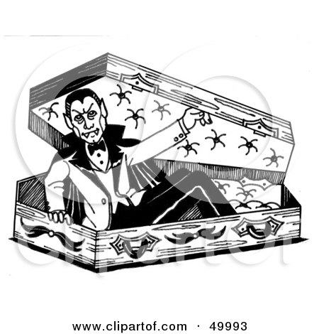 Clipart Of A Retro Vintage Black And White Coffin With A Cross ...