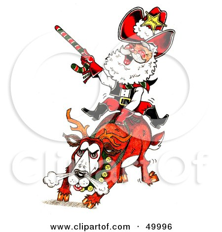 Santa Riding a Bronco in a Rodeo Posters, Art Prints