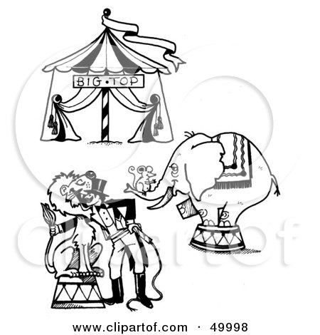 Royalty-Free (RF) Clipart Illustration of a Digital Collage Of A Circus Big Top, Mouse On An Elephant And A Lion Tamer by LoopyLand