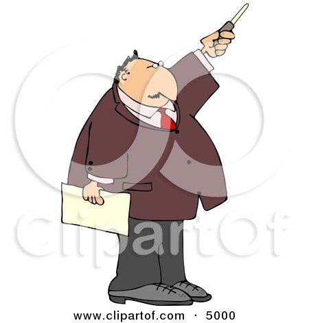 Businessman During a Presentation Pointing a Pointer Stick Posters, Art Prints