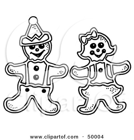 Royalty-Free (RF) Clipart Illustration of Male and Female Gingerbread Cookies by LoopyLand