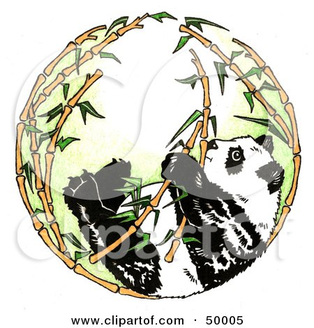 Royalty-Free (RF) Clipart Illustration of a Giant Panda In A Circle Of Bamboo Stalks by LoopyLand
