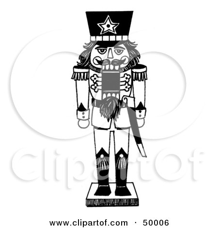 Royalty-Free (RF) Clipart Illustration of a Soldier Nutcracker In Black And White by LoopyLand