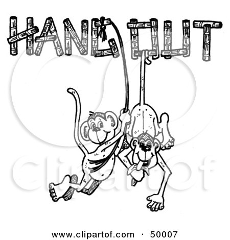 Royalty-Free (RF) Clipart Illustration of a Pair Of Happy Monkeys Eating Bananas And Hanging Out by LoopyLand