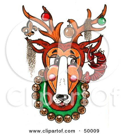 clip art new orleans. Royalty-free clipart picture of a mounted new orleans reindeer with