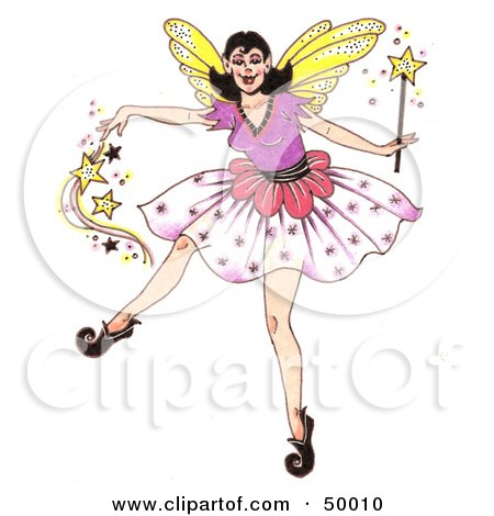 Royalty-free clipart picture of a dancing fairy godmother spreading pixie