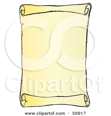 Royalty-Free (RF) Clipart Illustration of a Blank Vertical Scroll Menu or Sign by Snowy