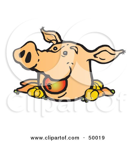 Royalty-Free (RF) Clipart Illustration of a Pigs Head With an Apple and Veggies by Snowy