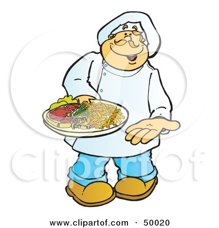 Royalty-Free (RF) Clipart Illustration of a Friendly Male Chef Carrying a Steak on a Platter by Snowy