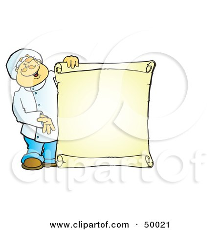 Royalty-Free (RF) Clipart Illustration of a Friendly Male Chef Holding A Blank Scroll Menu by Snowy