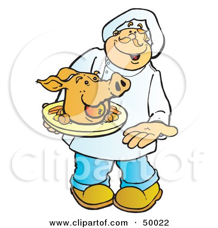 Royalty-Free (RF) Clipart Illustration of a Friendly Male Chef Carrying a Pigs Head on a Platter by Snowy