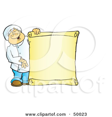 Royalty-Free (RF) Clipart Illustration of a Friendly Male Chef Holding A Blank Scroll Sign by Snowy