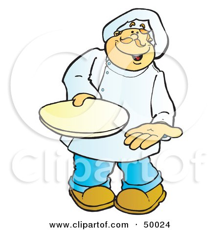 Royalty-Free (RF) Clipart Illustration of a Friendly Male Chef Carrying a Plate by Snowy