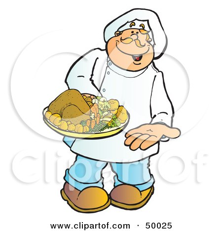 Royalty-Free (RF) Clipart Illustration of a Friendly Male Chef Carrying a Chicken or Turkey on a Platter by Snowy