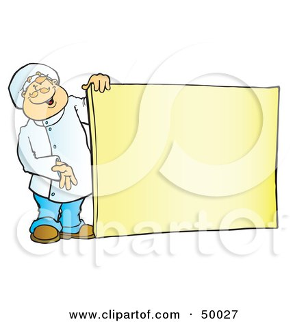 Royalty-Free (RF) Clipart Illustration of a Friendly Male Chef Holding A Blank Sign Board by Snowy