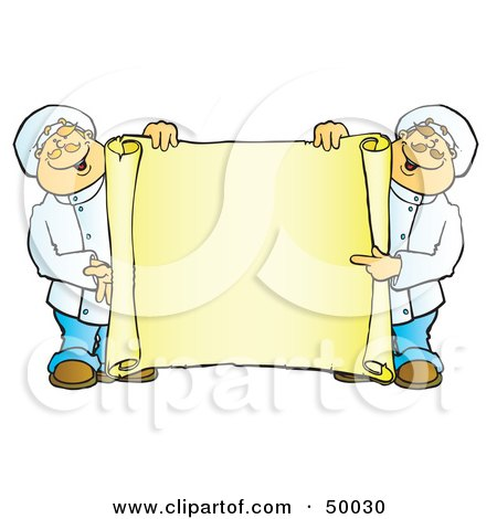 Royalty-Free (RF) Clipart Illustration of Two Male Chefs Holding A Blank Horizontal Scroll Sign by Snowy