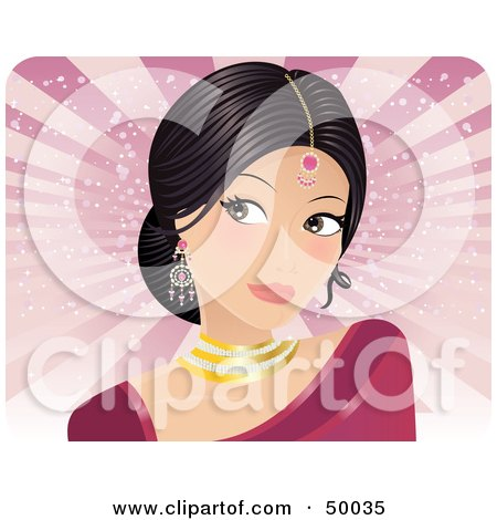 Royalty-Free (RF) Clipart Illustration of a Pretty Indian Bride In A Pink Dress, Looking To The Left by Melisende Vector