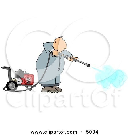 Man Cleaning with a Heavy Duty Gas Powered Pressure Washer Clipart by djart