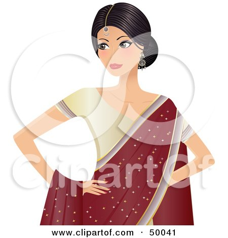 Royalty-Free (RF) Clipart Illustration of a Beautiful Indian Bride In A Beige Dress And Red Shawl by Melisende Vector