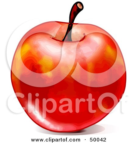 Royalty-Free (RF) Clipart Illustration of a Shiny Waxed Red Apple With A Stem, On A White Background by Pushkin