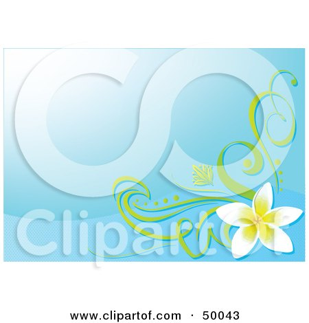 Royalty-Free (RF) Clipart Illustration of a Blue Background With A Plumeria Flower Corner Accent by Pushkin