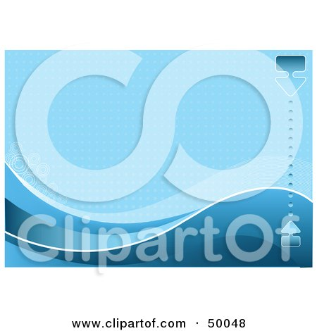 Royalty-Free (RF) Clipart Illustration of a Blue Wave Background With Halftone Dots, Waves And A Bar by Pushkin