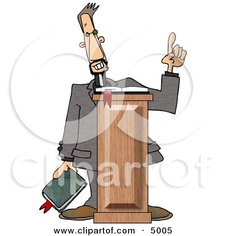 Christian Preacher Holding a Bible and Giving a Speech from Behind a Podium Clipart by djart