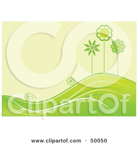 Royalty-Free (RF) Clipart Illustration of a Summer Green Background Of Flowers And Trees Growing On Rolling Hills by Pushkin