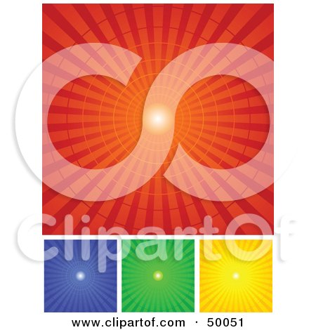 Royalty-Free (RF) Clipart Illustration of a Digital Collage Of Red, Blue, Green And Yellow Radial Burst Backgrounds by Pushkin