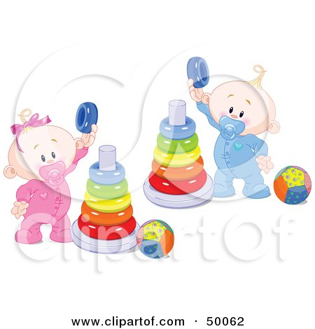 Royalty-Free (RF) Clipart Illustration of a Twin Baby Boy And Girl Playing With Ring Pyramids by Pushkin