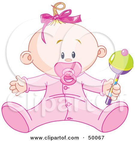 Royalty-Free (RF) Clipart Illustration of a Baby Girl Playing With a Rattle by Pushkin