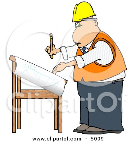 Male Architectural Engineer Writing On a Blueprint with a Pencil Clipart by djart
