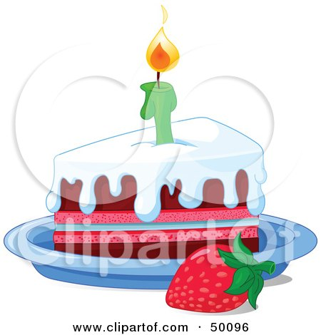 Royalty-Free (RF) Clipart Illustration of a Strawberry By A Frosted Birthday Cake Slice And A Lit Candle by Pushkin
