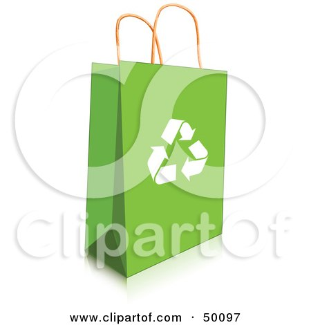 Royalty-Free (RF) Clipart Illustration of a Green Recycled Shopping or Gift Bag With Recycle Arrows by Pushkin