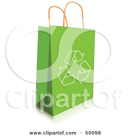 Royalty-Free (RF) Clipart Illustration of a Recycle Arrow Icon On A Green Shopping Bag by Pushkin