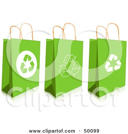 Royalty-Free (RF) Clipart Illustration of a Digital Collage Of Three Green Recycled Gift Or Shopping Bags by Pushkin