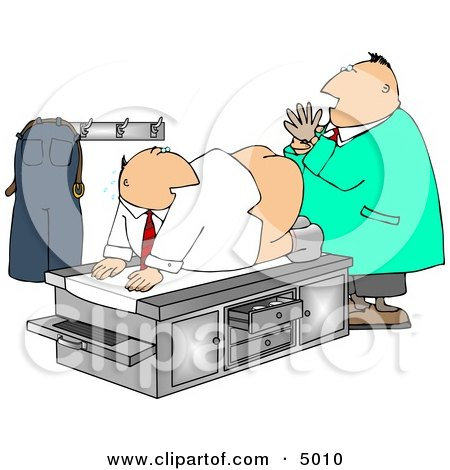 Male Doctor Giving Patient a Prostate Examination - Humorous Medical Clipart Posters, Art Prints