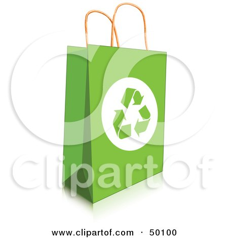 Royalty-Free (RF) Clipart Illustration of a Green Recycled Shopping Bag With Recycle Arrows by Pushkin