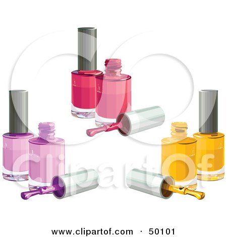 Royalty-Free (RF) Clipart Illustration of a Digital Collage Of Pink, Purple And Yellow Nail Polish Bottles by Pushkin