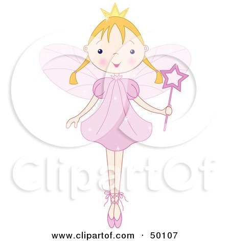Royalty-Free (RF) Clipart Illustration of a Blond Ballet Fairy Princess Standing On Her Tippy Toes by Pushkin