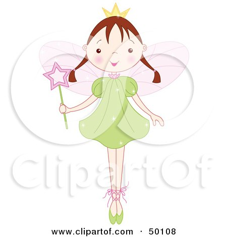 Royalty-Free (RF) Clipart Illustration of a Brunette Ballet Fairy Princess Standing On Her Tippy Toes by Pushkin