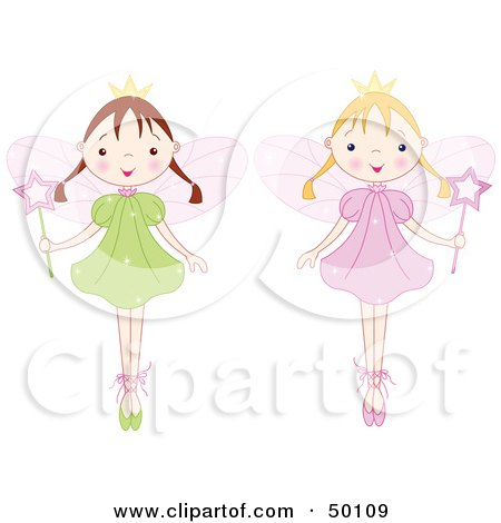Digital Collage Of Two Fairy Princess Girls In Ballet Slippers Posters, Art Prints