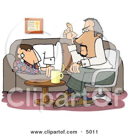 Bored Psychiatric Patient Falling Asleep to Psychiatrist Talking Clipart by djart