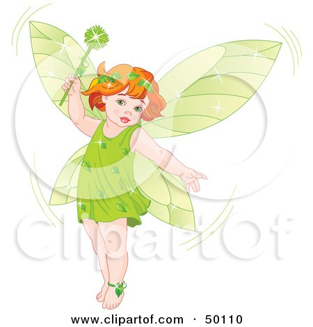 Red Haired Baby Fairy In Green, Holding A Magic Wand Posters, Art Prints
