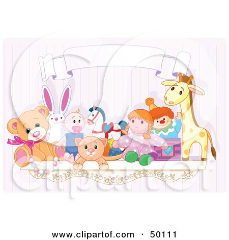Royalty-Free (RF) Clipart Illustration of a Toy Shelf With Stuffed Animals And A Jack In The Box Under A Blank Banner Against A Pink Wall by Pushkin